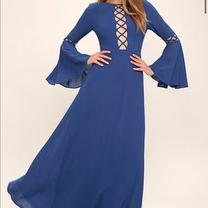 Lulu's Now is the Time Denim Blue Long Maxi Dress